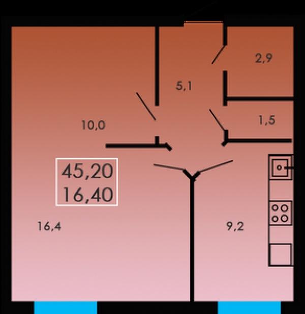 Планировки двухкомнатных квартир 45.2 м^2